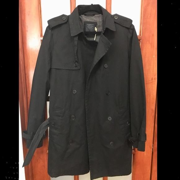 5eb54ce0002 All Saints Men's Trench Coat (sz 38) - Black - NWT